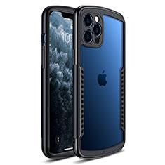Coque Rebord Contour Silicone et Vitre Transparente Miroir Housse Etui H01 pour Apple iPhone 12 Pro Noir
