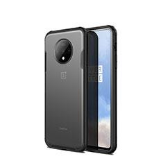 Coque Rebord Contour Silicone et Vitre Transparente Miroir Housse Etui H01 pour OnePlus 7T Noir
