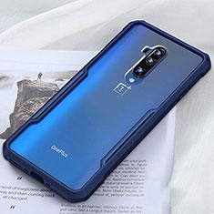 Coque Rebord Contour Silicone et Vitre Transparente Miroir Housse Etui H01 pour OnePlus 7T Pro Bleu