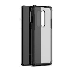 Coque Rebord Contour Silicone et Vitre Transparente Miroir Housse Etui H01 pour OnePlus 8 Noir