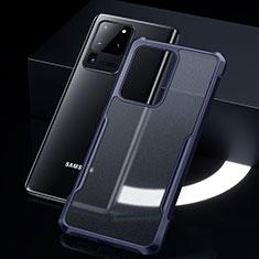 Coque Rebord Contour Silicone et Vitre Transparente Miroir Housse Etui H01 pour Samsung Galaxy S20 Ultra 5G Bleu