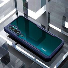 Coque Rebord Contour Silicone et Vitre Transparente Miroir Housse Etui H01 pour Xiaomi Mi Note 10 Bleu