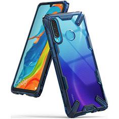 Coque Rebord Contour Silicone et Vitre Transparente Miroir Housse Etui H02 pour Huawei P30 Lite Bleu