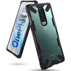 Coque Rebord Contour Silicone et Vitre Transparente Miroir Housse Etui H02 pour OnePlus 8 Noir