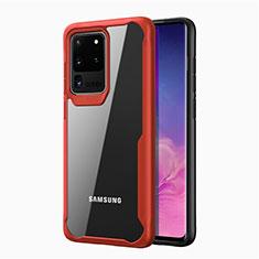 Coque Rebord Contour Silicone et Vitre Transparente Miroir Housse Etui H02 pour Samsung Galaxy S20 Ultra 5G Rouge
