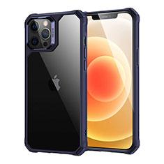 Coque Rebord Contour Silicone et Vitre Transparente Miroir Housse Etui H07 pour Apple iPhone 12 Pro Max Bleu