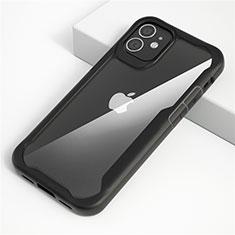 Coque Rebord Contour Silicone et Vitre Transparente Miroir Housse Etui M01 pour Apple iPhone 12 Max Noir