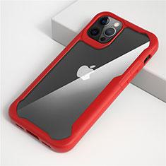 Coque Rebord Contour Silicone et Vitre Transparente Miroir Housse Etui M01 pour Apple iPhone 12 Pro Rouge