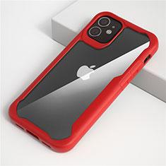 Coque Rebord Contour Silicone et Vitre Transparente Miroir Housse Etui M01 pour Apple iPhone 12 Rouge