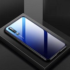 Coque Rebord Contour Silicone et Vitre Transparente Miroir Housse Etui M01 pour Huawei Honor Magic 2 Bleu