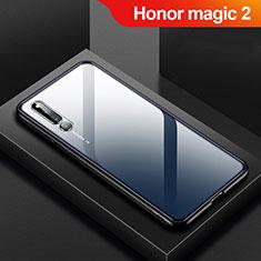 Coque Rebord Contour Silicone et Vitre Transparente Miroir Housse Etui M01 pour Huawei Honor Magic 2 Noir