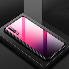 Coque Rebord Contour Silicone et Vitre Transparente Miroir Housse Etui M01 pour Huawei Honor Magic 2 Rouge