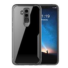 Coque Rebord Contour Silicone et Vitre Transparente Miroir Housse Etui M01 pour Huawei Mate 20 Lite Noir