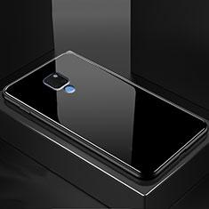 Coque Rebord Contour Silicone et Vitre Transparente Miroir Housse Etui M01 pour Huawei Mate 20 Noir