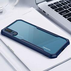 Coque Rebord Contour Silicone et Vitre Transparente Miroir Housse Etui M01 pour Huawei P20 Bleu