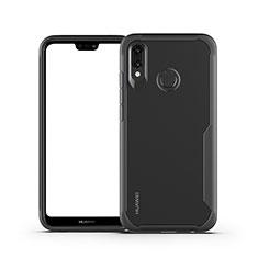 Coque Rebord Contour Silicone et Vitre Transparente Miroir Housse Etui M01 pour Huawei P20 Lite Noir