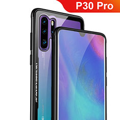 Coque Rebord Contour Silicone et Vitre Transparente Miroir Housse Etui M01 pour Huawei P30 Pro Noir