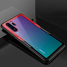Coque Rebord Contour Silicone et Vitre Transparente Miroir Housse Etui M01 pour Huawei P30 Pro Rouge