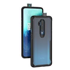 Coque Rebord Contour Silicone et Vitre Transparente Miroir Housse Etui M01 pour OnePlus 7T Pro 5G Noir