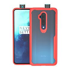 Coque Rebord Contour Silicone et Vitre Transparente Miroir Housse Etui M01 pour OnePlus 7T Pro Rouge