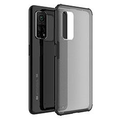 Coque Rebord Contour Silicone et Vitre Transparente Miroir Housse Etui M01 pour Xiaomi Mi 10T Pro 5G Noir