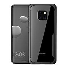 Coque Rebord Contour Silicone et Vitre Transparente Miroir Housse Etui M02 pour Huawei Mate 20 Pro Noir