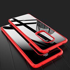 Coque Rebord Contour Silicone et Vitre Transparente Miroir Housse Etui M02 pour Huawei Mate 20 Rouge