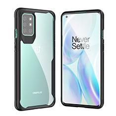 Coque Rebord Contour Silicone et Vitre Transparente Miroir Housse Etui M02 pour OnePlus 8T 5G Noir