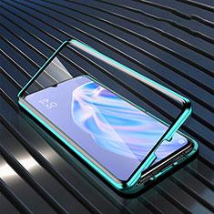Coque Rebord Contour Silicone et Vitre Transparente Miroir Housse Etui M02 pour Oppo A91 Vert
