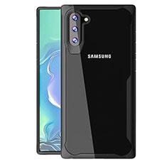 Coque Rebord Contour Silicone et Vitre Transparente Miroir Housse Etui M02 pour Samsung Galaxy Note 10 Noir