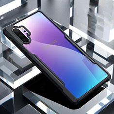 Coque Rebord Contour Silicone et Vitre Transparente Miroir Housse Etui M02 pour Samsung Galaxy Note 10 Plus 5G Noir