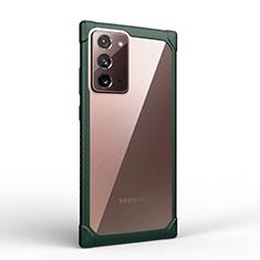 Coque Rebord Contour Silicone et Vitre Transparente Miroir Housse Etui M02 pour Samsung Galaxy Note 20 5G Vert