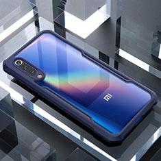 Coque Rebord Contour Silicone et Vitre Transparente Miroir Housse Etui M02 pour Xiaomi Mi A3 Lite Bleu