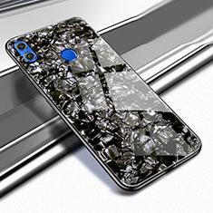 Coque Rebord Contour Silicone et Vitre Transparente Miroir Housse Etui M03 pour Huawei Honor 8X Noir