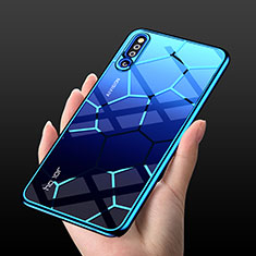Coque Rebord Contour Silicone et Vitre Transparente Miroir Housse Etui M03 pour Huawei Honor Magic 2 Bleu