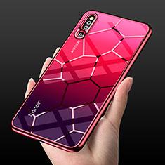 Coque Rebord Contour Silicone et Vitre Transparente Miroir Housse Etui M03 pour Huawei Honor Magic 2 Rouge