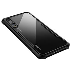Coque Rebord Contour Silicone et Vitre Transparente Miroir Housse Etui M03 pour Huawei P20 Pro Noir