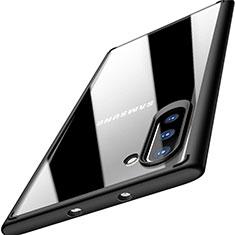 Coque Rebord Contour Silicone et Vitre Transparente Miroir Housse Etui M03 pour Samsung Galaxy Note 10 Noir