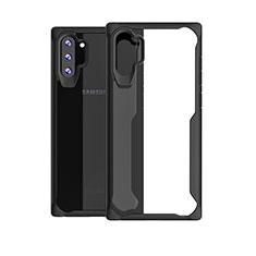 Coque Rebord Contour Silicone et Vitre Transparente Miroir Housse Etui M03 pour Samsung Galaxy Note 10 Plus Noir