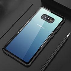 Coque Rebord Contour Silicone et Vitre Transparente Miroir Housse Etui M03 pour Samsung Galaxy S10e Noir