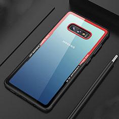 Coque Rebord Contour Silicone et Vitre Transparente Miroir Housse Etui M03 pour Samsung Galaxy S10e Rouge