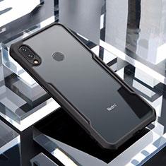 Coque Rebord Contour Silicone et Vitre Transparente Miroir Housse Etui M03 pour Xiaomi Redmi Note 7 Noir