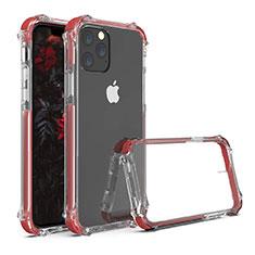 Coque Rebord Contour Silicone et Vitre Transparente Miroir Housse Etui M04 pour Apple iPhone 11 Pro Rouge