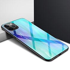 Coque Rebord Contour Silicone et Vitre Transparente Miroir Housse Etui N01 pour Apple iPhone 12 Pro Cyan