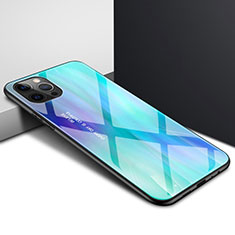 Coque Rebord Contour Silicone et Vitre Transparente Miroir Housse Etui N01 pour Apple iPhone 12 Pro Max Cyan