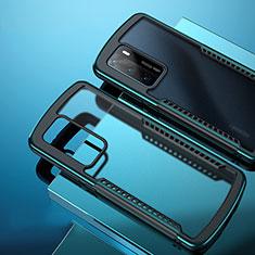 Coque Rebord Contour Silicone et Vitre Transparente Miroir Housse Etui N01 pour Huawei P40 Cyan