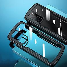 Coque Rebord Contour Silicone et Vitre Transparente Miroir Housse Etui N02 pour Huawei P40 Noir