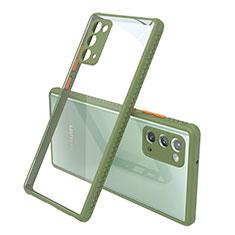 Coque Rebord Contour Silicone et Vitre Transparente Miroir Housse Etui N02 pour Samsung Galaxy Note 20 5G Vert Armee