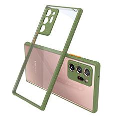 Coque Rebord Contour Silicone et Vitre Transparente Miroir Housse Etui N02 pour Samsung Galaxy Note 20 Ultra 5G Vert Armee
