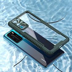 Coque Rebord Contour Silicone et Vitre Transparente Miroir Housse Etui N03 pour Huawei P40 Vert Nuit